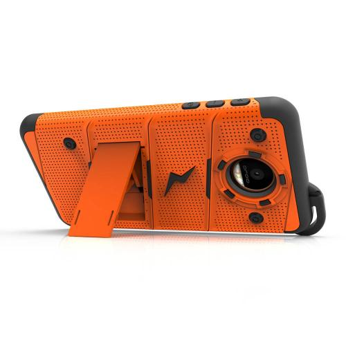 Made for [Motorola Moto Z2 Force / Moto Z2 Play]-Bolt Series: Heavy Duty Cover w/ Kickstand Holster Tempered Glass Screen Protector & Lanyard [Orange/ Black]