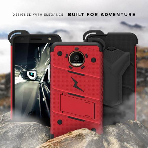 Made for [Motorola Moto Z2 Force / Moto Z2 Play]-Bolt Series: Heavy Duty Cover w/ Kickstand Holster Tempered Glass Screen Protector & Lanyard [Red/ Black]