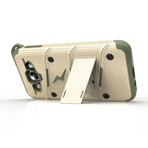 Made for [Samsung Galaxy On5]-Bolt Series: Heavy Duty Cover w/ Kickstand Holster Tempered Glass Screen Protector & Lanyard [Desert Tan/Camo Green]