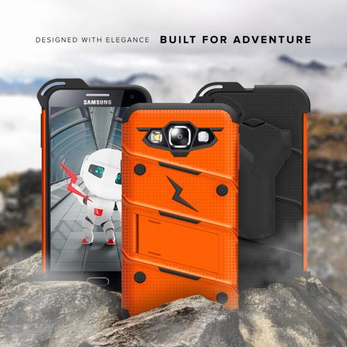 Made for [Samsung Galaxy On5]-Bolt Series: Heavy Duty Cover w/ Kickstand Holster Tempered Glass Screen Protector & Lanyard [Orange/ Black]