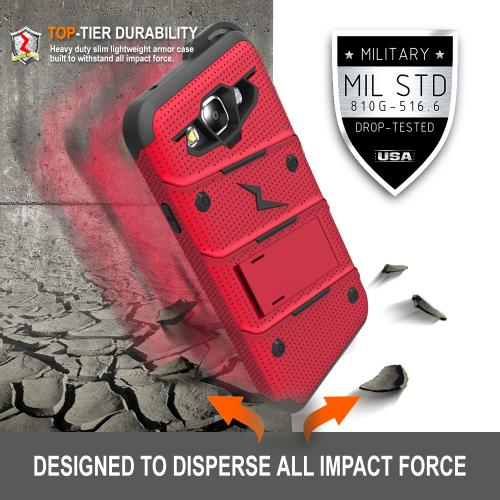 Made for [Samsung Galaxy On5]-Bolt Series: Heavy Duty Cover w/ Kickstand Holster Tempered Glass Screen Protector & Lanyard [Red/ Black]