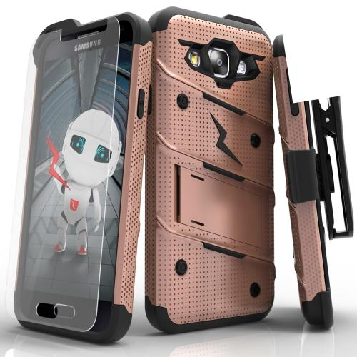 Made for [Samsung Galaxy On5]-Bolt Series: Heavy Duty Cover w/ Kickstand Holster Tempered Glass Screen Protector & Lanyard [Rose Gold/ Black]