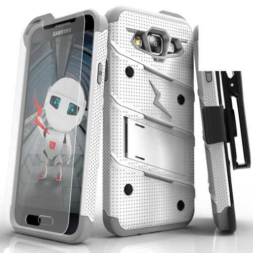 Made for [Samsung Galaxy On5]-Bolt Series: Heavy Duty Cover w/ Kickstand Holster Tempered Glass Screen Protector & Lanyard [White/ Gray]