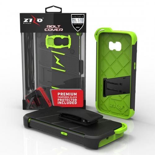 Made for [Samsung Galaxy S7]-Bolt Series: Heavy Duty Cover w/ Kickstand Holster Tempered Glass Screen Protector & Lanyard [Black/ Neon Green]