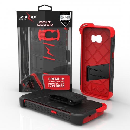 Made for [Samsung Galaxy S7]-Bolt Series: Heavy Duty Cover w/ Kickstand Holster Tempered Glass Screen Protector & Lanyard [Black/ Red]