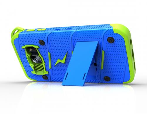 Made for [Samsung Galaxy S7]-Bolt Series: Heavy Duty Cover w/ Kickstand Holster Tempered Glass Screen Protector & Lanyard [Blue/ Neon Green]