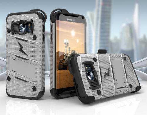 Made for [Samsung Galaxy S7]-Bolt Series: Heavy Duty Cover w/ Kickstand Holster Tempered Glass Screen Protector & Lanyard [Gray/ Black]