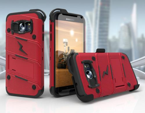 Made for [Samsung Galaxy S7]-Bolt Series: Heavy Duty Cover w/ Kickstand Holster Tempered Glass Screen Protector & Lanyard [Red/ Black]