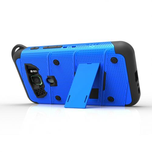 Made for [Samsung Galaxy S7 Active Case (Will NOT fit Samsung Galaxy S7)]-Bolt Series: Heavy Duty Cover w/ Kickstand Holster Tempered Glass Screen Protector & Lanyard [Blue/ Black]