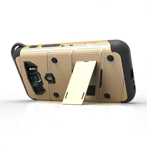 Made for [Samsung Galaxy S7 Active Case (Will NOT fit Samsung Galaxy S7)]-Bolt Series: Heavy Duty Cover w/ Kickstand Holster Tempered Glass Screen Protector & Lanyard [Gold/ Black]