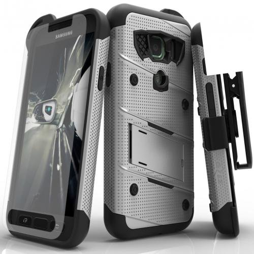 Made for [Samsung Galaxy S7 Active Case (Will NOT fit Samsung Galaxy S7)]-Bolt Series: Heavy Duty Cover w/ Kickstand Holster Tempered Glass Screen Protector & Lanyard [Gray/ Black]