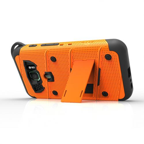 Made for [Samsung Galaxy S7 Active Case (Will NOT fit Samsung Galaxy S7)]-Bolt Series: Heavy Duty Cover w/ Kickstand Holster Tempered Glass Screen Protector & Lanyard [Orange/ Black]