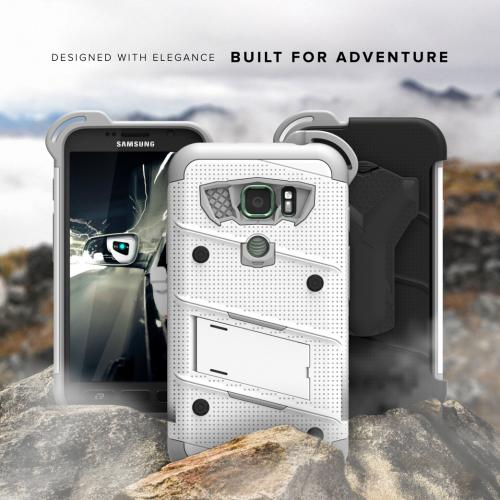 Made for [Samsung Galaxy S7 Active Case (Will NOT fit Samsung Galaxy S7)]-Bolt Series: Heavy Duty Cover w/ Kickstand Holster Tempered Glass Screen Protector & Lanyard [White/ Gray]