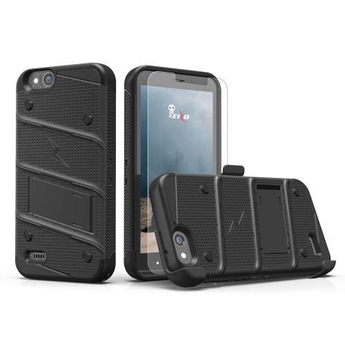 Made for [ZTE Tempo X/ Avid 4]-Bolt Series: Heavy Duty Cover w/ Kickstand Holster Tempered Glass Screen Protector & Lanyard [Black]