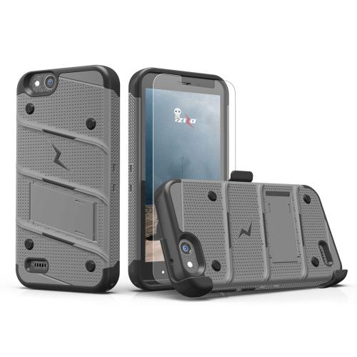 Made for [ZTE Tempo X/ Avid 4]-Bolt Series: Heavy Duty Cover w/ Kickstand Holster Tempered Glass Screen Protector & Lanyard [Gray/ Black]