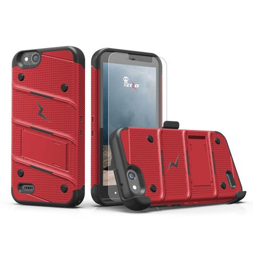 Made for [ZTE Tempo X/ Avid 4]-Bolt Series: Heavy Duty Cover w/ Kickstand Holster Tempered Glass Screen Protector & Lanyard [Red/ Black]