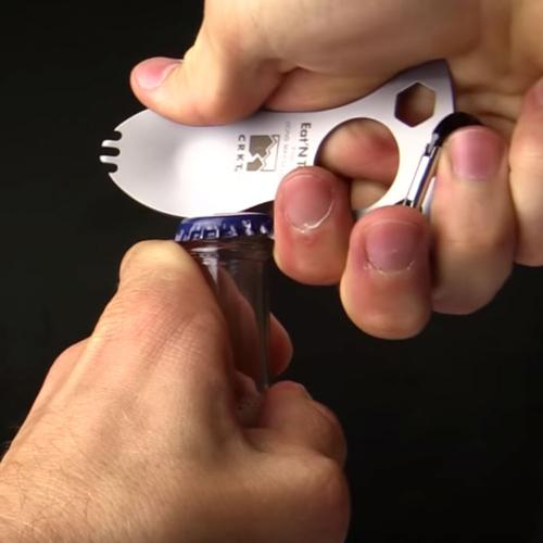 Stainless Steel Survival Multi-Function Bottle Opener w/ Spork, Screwdriver - Eat'N Tool, Perfect for Camping!