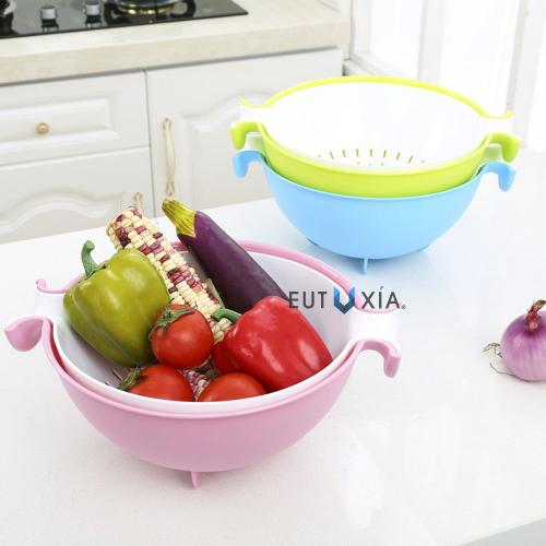 Eutuxia 2-in-1 Large Colander and Bowl. Strainer for Cleaning, Washing, and Mixing Salads, Vegetables, Fruits, Beans, Pasta, Noodles. Double Layered Multifunction 280 Rotatable Drain Basin & Basket.