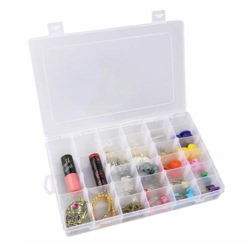 Eutuxia Clear Plastic Jewelry Organizer Box with 36 Grids. Perfect Storage Container for Beads, Rings, Earrings, Necklace, Nail Arts, Pills, Etc. Simple Organizing Solution with Adjustable Dividers.