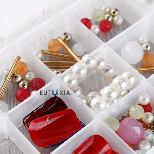 Eutuxia [Buy 2 Get 1 Free] Clear Plastic Jewelry Organizer Box with 36 Grids. Perfect Storage Container for Beads, Rings, Earrings, Necklace, Nail Arts, Etc. Simple Organizing Solution with Dividers.