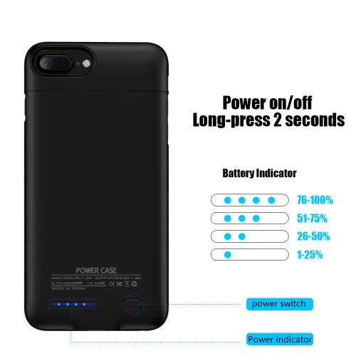 Made for Apple iPhone 8 Plus / 7 Plus / 6S Plus / 6 Plus Charging Case, [3000mAh] Rechargeable External Power Battery Charging Case [Black] by Redshield