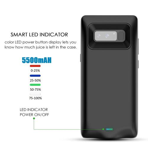 Samsung Galaxy Note 8 Charging Case, [5500mAh] Rechargeable External Power Battery Charging Case [Black]