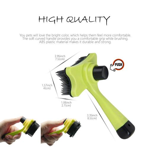 Eutuxia Pet Grooming Slicker Brush, Comb. Hair Remover for Dogs, Cats, Horses, Etc. Effective & Efficient Deshedding Tool with Push Button for Auto Removal Self Cleaning. Works with Long or Short Fur.