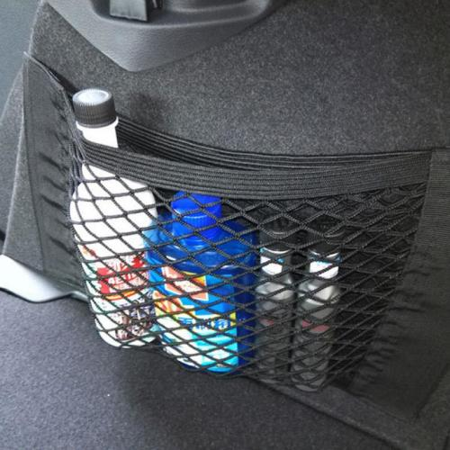 Car Seat Back Storage Mesh Net Bag [Black]