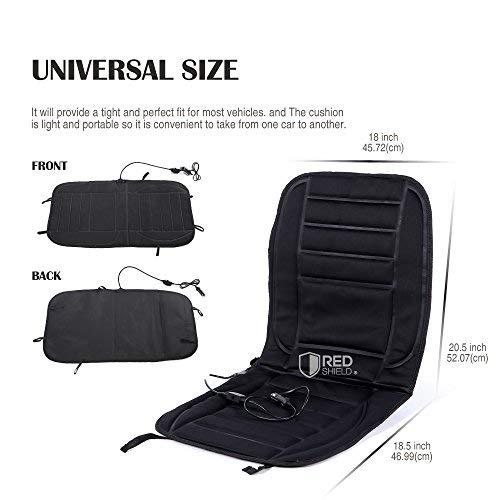 Heated Car Seat Cushion, [Black] 12V Adjustable Temperature Ultra Comfortable Seat Pad Warmer - Plugs Into Cigarette Lighter & Perfect for Winter!