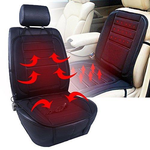 Heated Car Seat Cushion Black 12V Adjustable Temperature Ultra Comfortable Pad Warmer