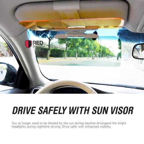 RED SHIELD Car Sun Visor Extender. 2 Transparent Anti-Glare Tinted Shields  for Day ... 9e79b8ca2ca