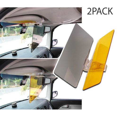 RED SHIELD Car Sun Visor Extender. 2 Transparent Anti-Glare Tinted Shields for Day & Night. Blocks UV Rays Through Windshield. Universal for All Vehicles. Drive Safely with Enhanced Visibility. [2 PK]