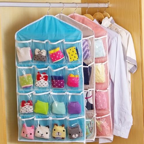 Closet Oranizer, [Blue] 16 Clear Pockets Over the Door Storage Closet Hanging Bag - Perfect for Shoes, Underwear, Socks, Bras and More!