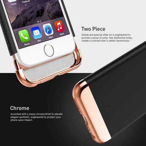Apple iPhone 6/6S Case, Caseology [Savoy Series] Chrome / Microfiber Slider Case [Black] [Premium Rose Gold]