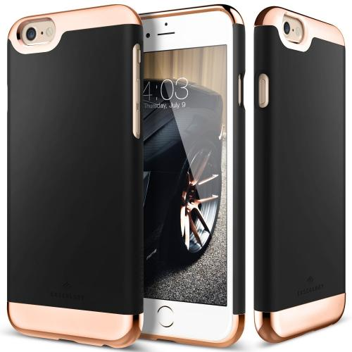 Made for Apple iPhone 6/6S Case, Caseology [Savoy Series] Chrome / Microfiber Slider Case [Black] [Premium Rose Gold] by Caseology