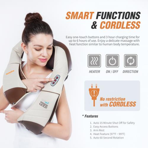 [HuePlus] Cordless Shiatsu Premium Back Massager / Neck, Shoulder Massager - Deep Kneading Massage Pillow W/ Heated 3D Tension Technology - FDA Registered