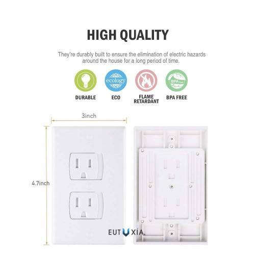 Eutuxia Universal Self-Closing Electrical Outlet Covers. Automatically Closes to Prevent Electric Hazards for Babies, Toddlers, and Children. Safety & Better Alternative to Wall Socket Plugs. [3 PK]
