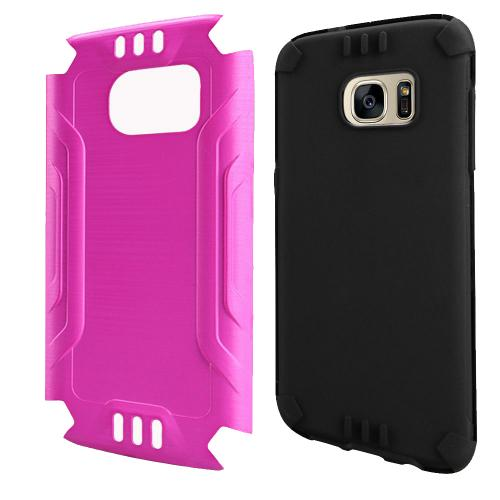 Samsung Galaxy S7 Case, Slim Armor Brushed Metal Design Hybrid Hard Case on TPU [Hot Pink] with Travel Wallet Phone Stand