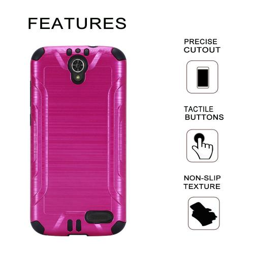 [ZTE Warp 7/ Grand X3/ Grand X 3] Case, Slim Armor Brushed Metal Design Hybrid Hard Case on TPU [Hot Pink] with Travel Wallet Phone Stand