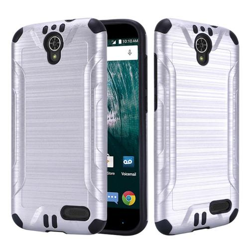 [ZTE Warp 7/ Grand X3/ Grand X 3] Case, Slim Armor Brushed Metal Design Hybrid Hard Case on TPU [Silver] with Travel Wallet Phone Stand