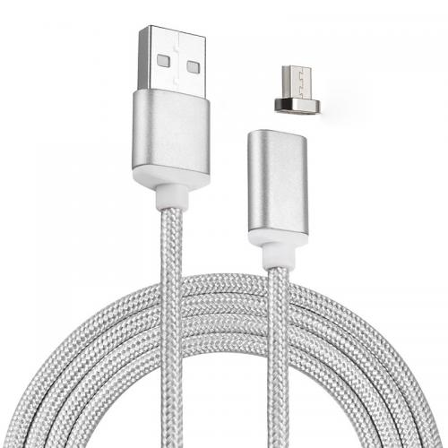 Micro USB to USB Magnetic Data Cable [Silver]