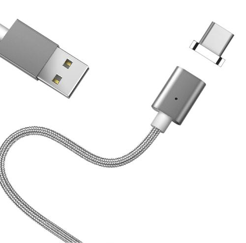 Type-C to USB Magnetic Charge & Sync Data Cable [Silver]