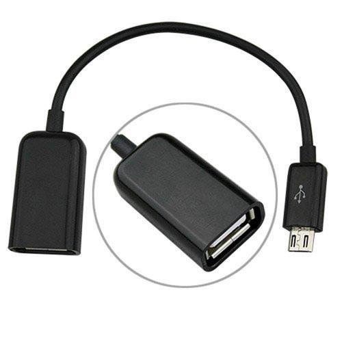 Black USB A 2.0 Female to Micro USB B Male On-The-Go Adapter Data Cable