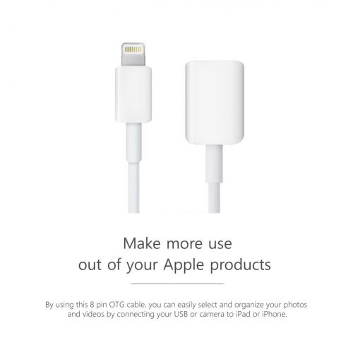 White USB A 2.0 Female to Lightning B Male On-The-Go Adapter Data Cable [2 Pack]