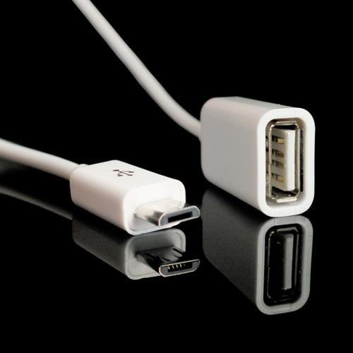White USB A 2.0 Female to Micro USB B Male On-The-Go Adapter Data Cable