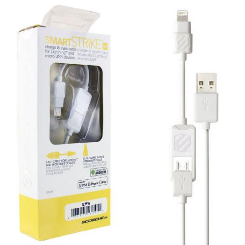 [Scosche] Smartstrike Micro USB to Lightning Charge & Sync Data Cable [3FT] - White