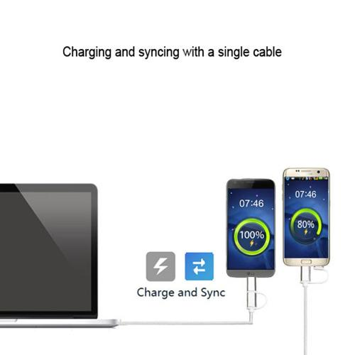 Type-C & Micro USB 2-in-1 Charge/ Sync Data Cable 3 FT [Silver]