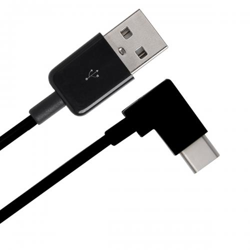 1M/ 3.3 ft USB 3.0 (Type A) Male to USB 3.1 C (Type C) Male 90 Degree Angle [Black]