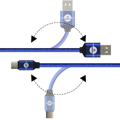 Type-C to USB 2.0 (A) Data & Sync Nylon Braided Charging Cable [Blue] 1.5M/ (5 Feet)