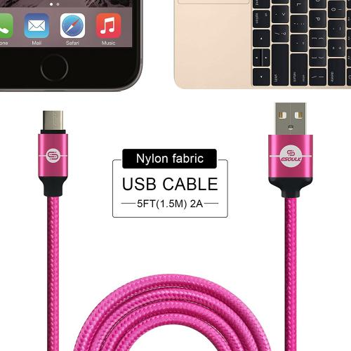 Type-C to USB 2.0 (A) Data & Sync Nylon Braided Charging Cable [Hot Pink] 1.5M/ (5 Feet)
